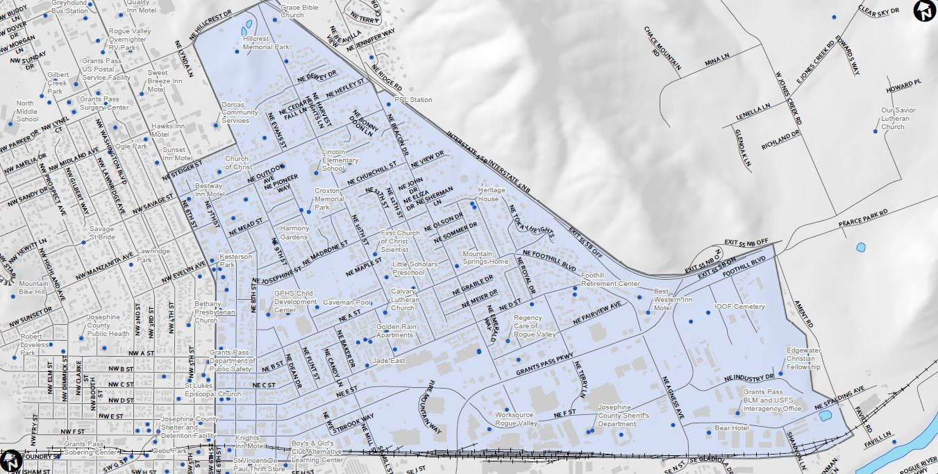 Map of the area the Grants Pass Opportunity Zone covers