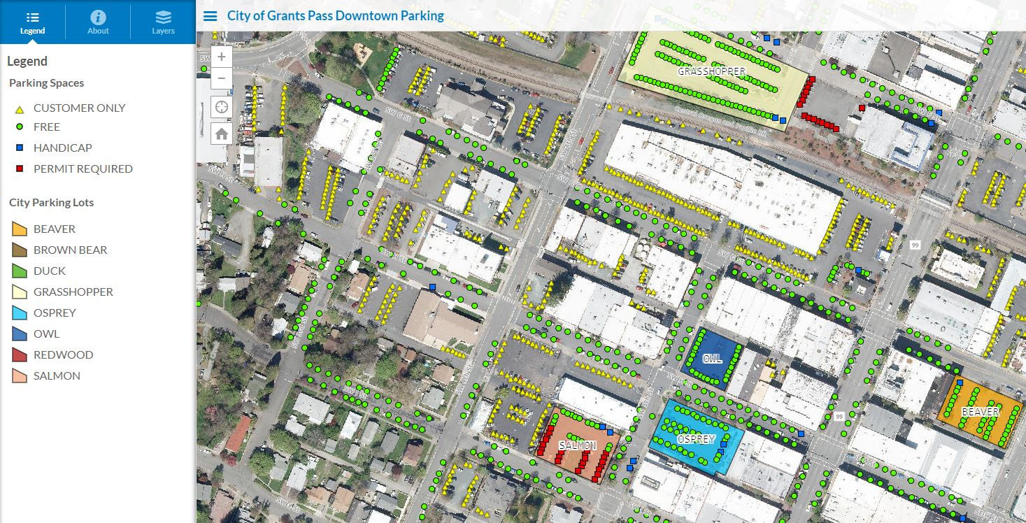 City of Grants Pass Downtown Parking Interactive GIS Map