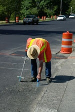 Public Works Staff Marking Existing Water Lines