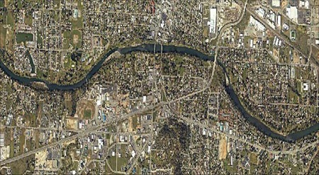 Aerial View of the Rogue River winding through Grants Pass